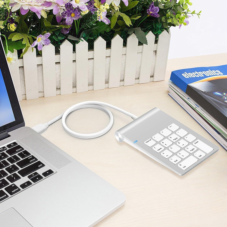 USB Teclado num/érico,Alcey USB Teclado num/érico de aluminio con concentrador USB 3.0 y adaptador de sonido est/éreo externo Comboombo Alcey Acabado de aluminio Teclado Num/érico USB con Hub USB 3.0 y Adaptador Externo de Sonido St