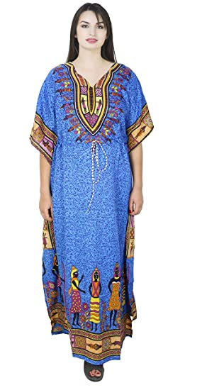 58293e2e7f1c0 SKAVIJ Womens Maxi Length Caftan Kaftans Dashiki Caftan Nightgown Plus Size  Blue