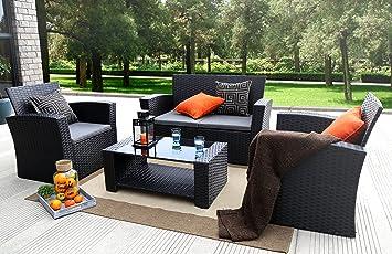 Admirable Baner Garden N87 4 Pieces Outdoor Furniture Complete Patio Cushion Wicker Pe Rattan Garden Set Full Black Home Interior And Landscaping Ferensignezvosmurscom