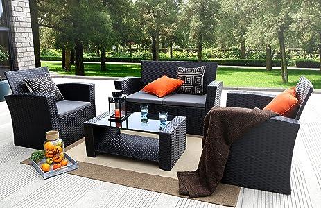 Baner Garden (N87) 4 Pieces Outdoor Furniture Complete Patio Cushion Wicker  P.E Rattan Garden