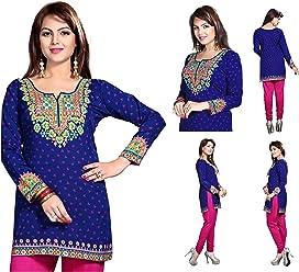 Unifiedclothes Women Fashion Printed Short Indian Kurti Tunic Kurta Top Shirt Dress 127A