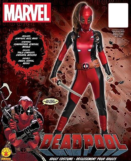 Deadpool Traje para Las Mujeres 3 Piezas de Cinta Mono Máscara roja Marvel