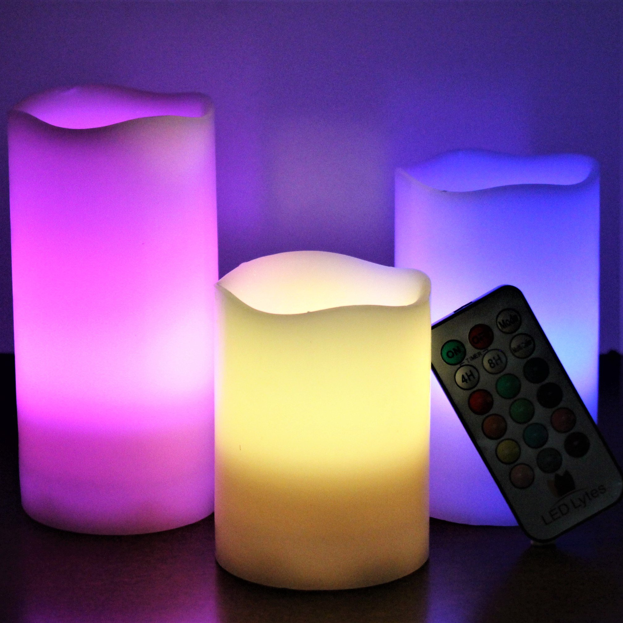 LED Lytes Flickering Flameless Candles - Battery Operated Candles Vanilla Scented Set of 3 Round Ivory Wax Flickering Multi Colored Flame, auto-Off Timer Remote Control Weddings Gifts by LED Lytes (Image #6)