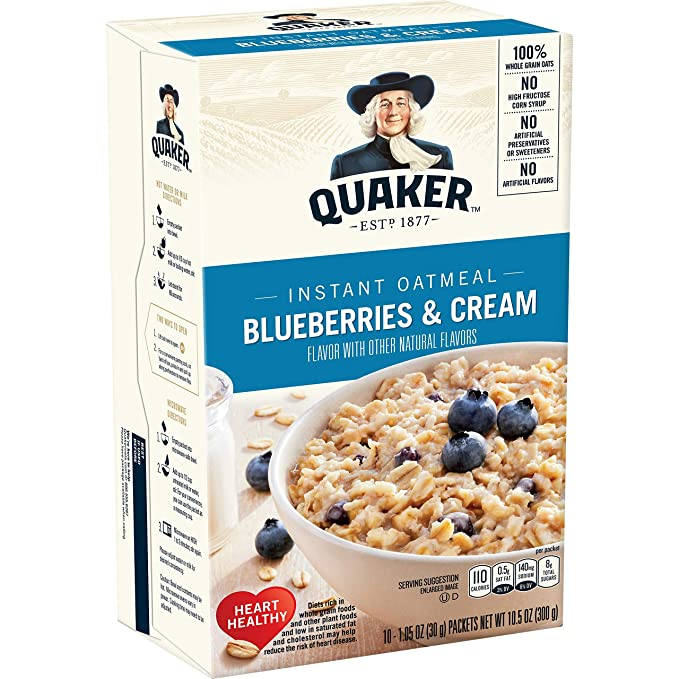 AmazonSmile: Quaker Instant Oatmeal, Blueberries & Cream, Individual Packets, 10 Count