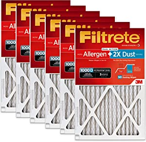 Filtrete 16x25x1, AC Furnace Air Filter, MPR 1000D, Micro Allergen PLUS DUST, 6-Pack