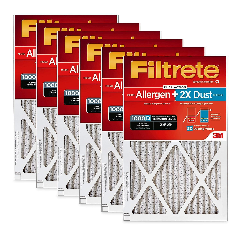 Filtrete 16x20x1, AC Furnace Air Filter, MPR 1000D, Micro Allergen PLUS DUST, 6-Pack