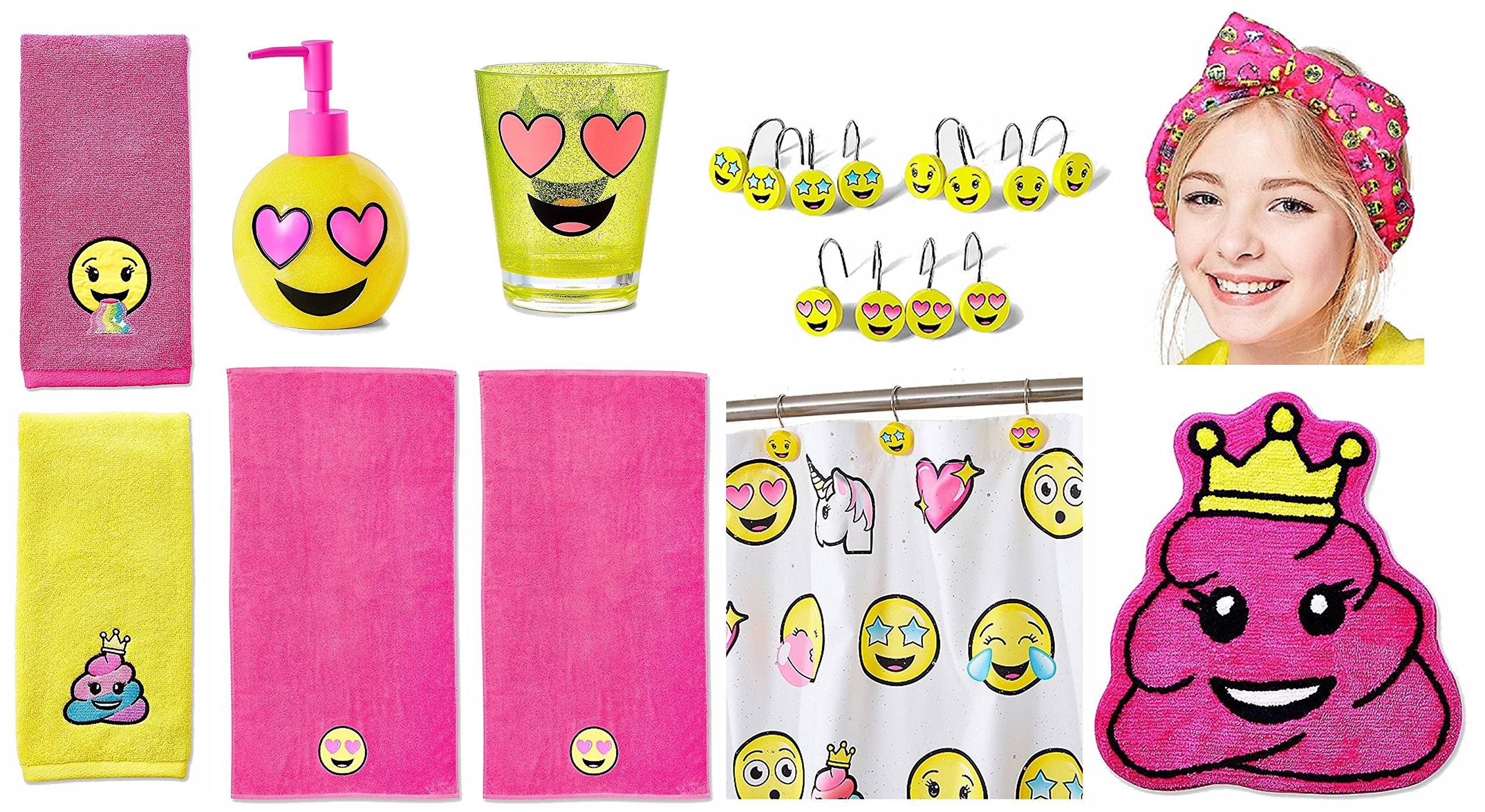 Justice For Girls Emoji Complete 10pc Bathroom Decor Acessory Kit