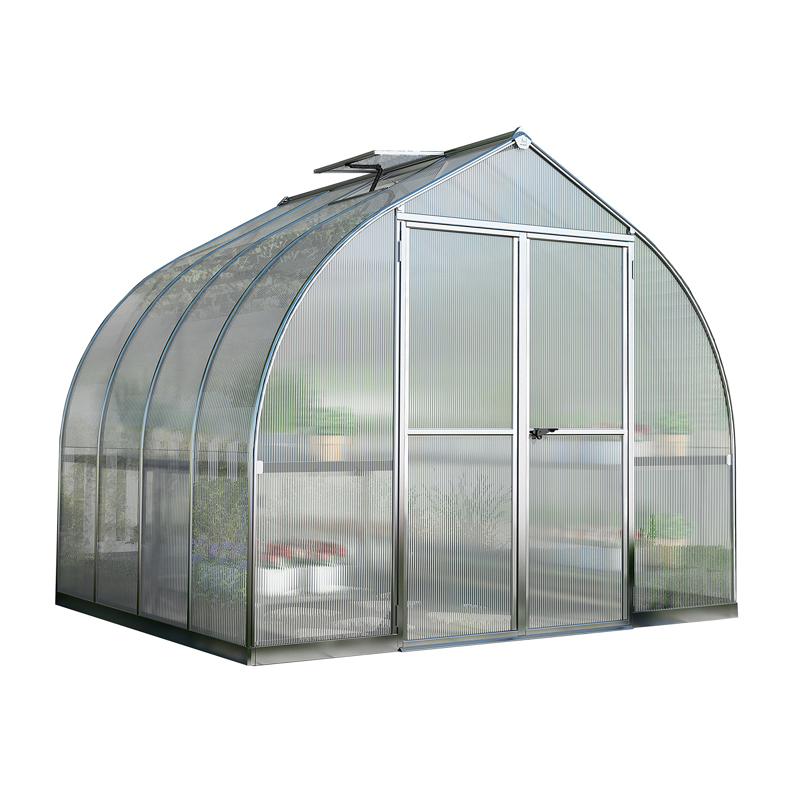 Palram Bella Hobby Greenhouse, 8' x 8', Silver with Twin Wall Glazing