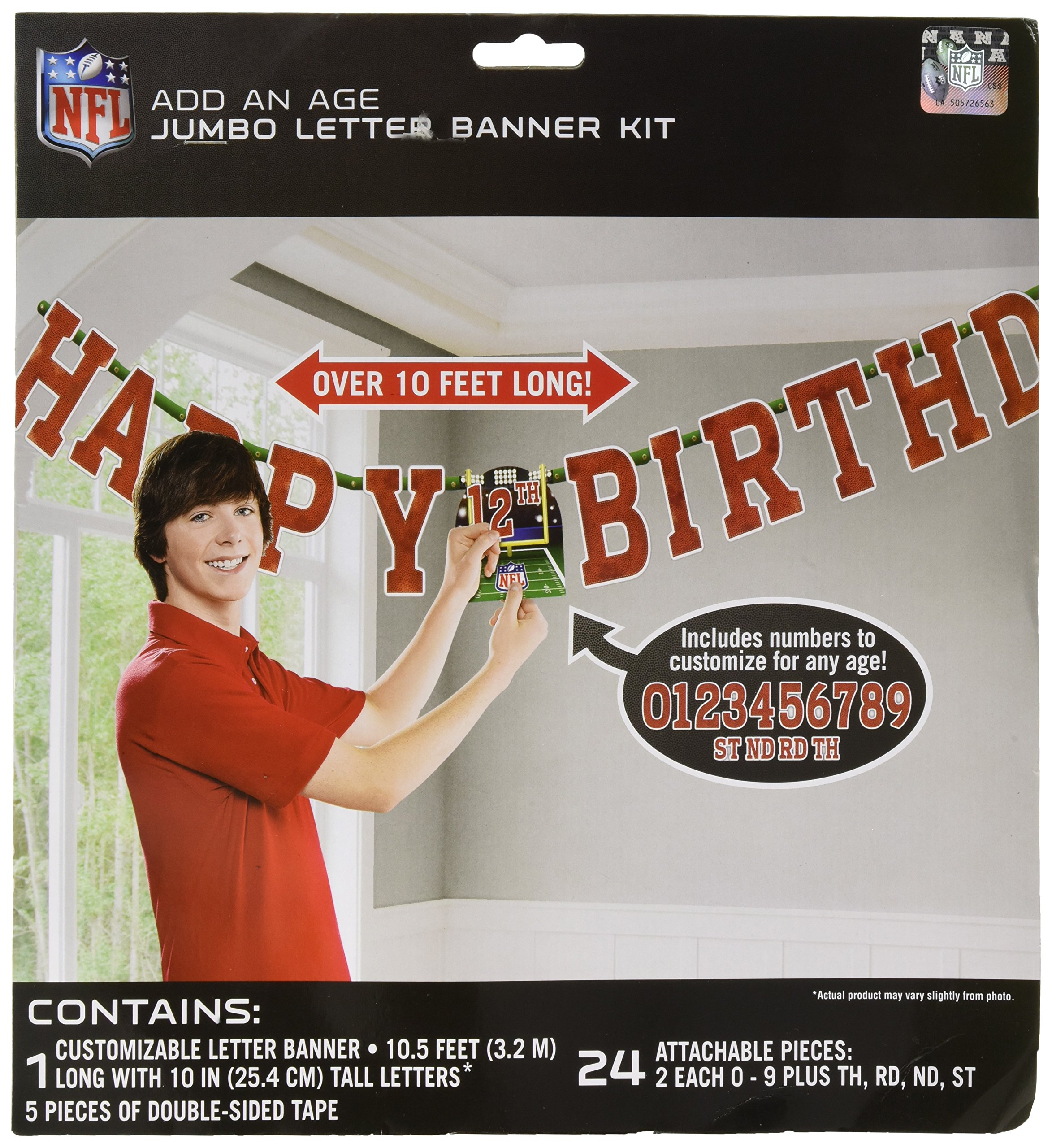 Amscan ''NFL Drive Collection'' Add-An-Age Letter Banner, Party Decoration, 6 Ct.