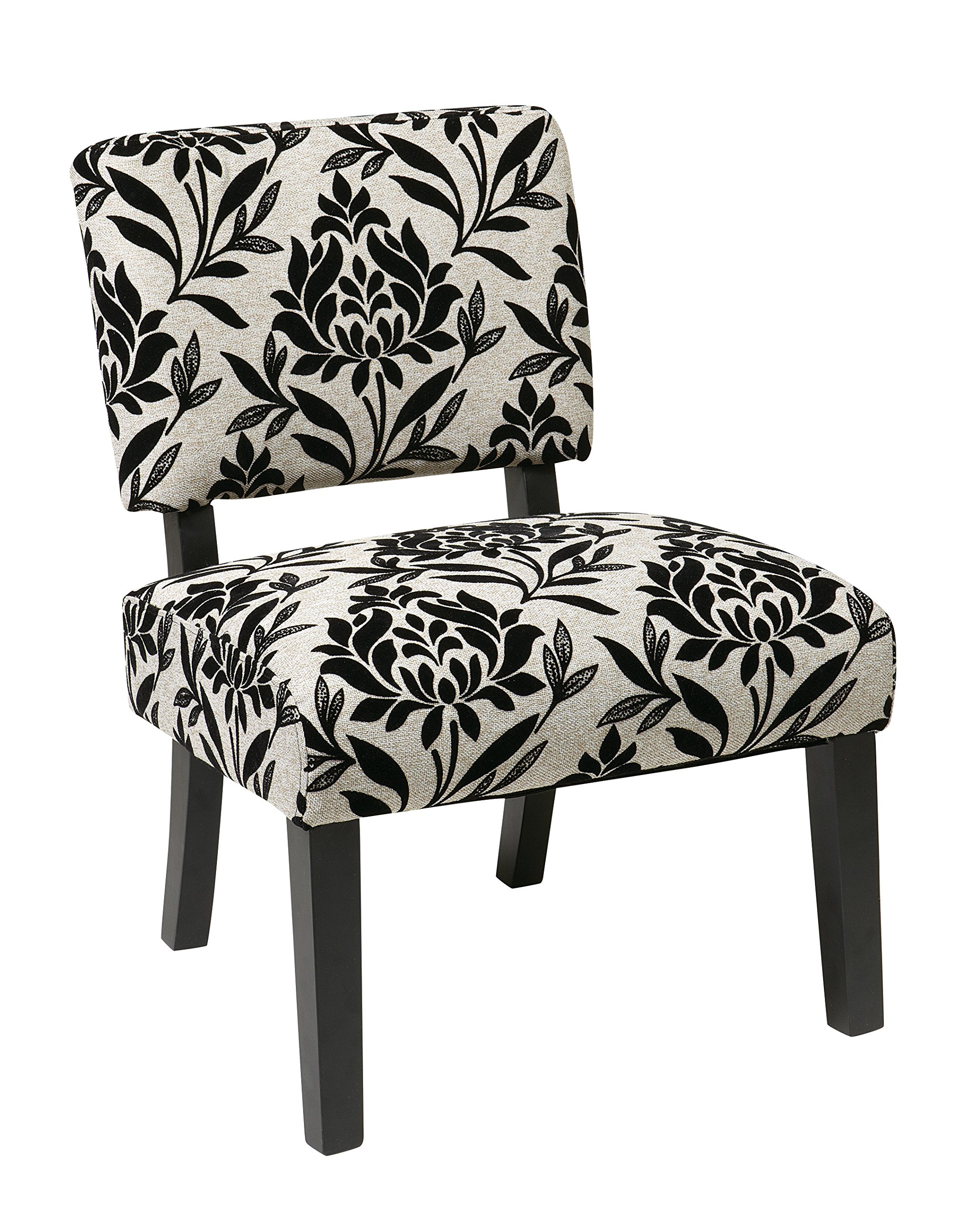 AVE SIX Jasmine Accent Chair with Espresso Finish Solid Wood Legs, Paradise