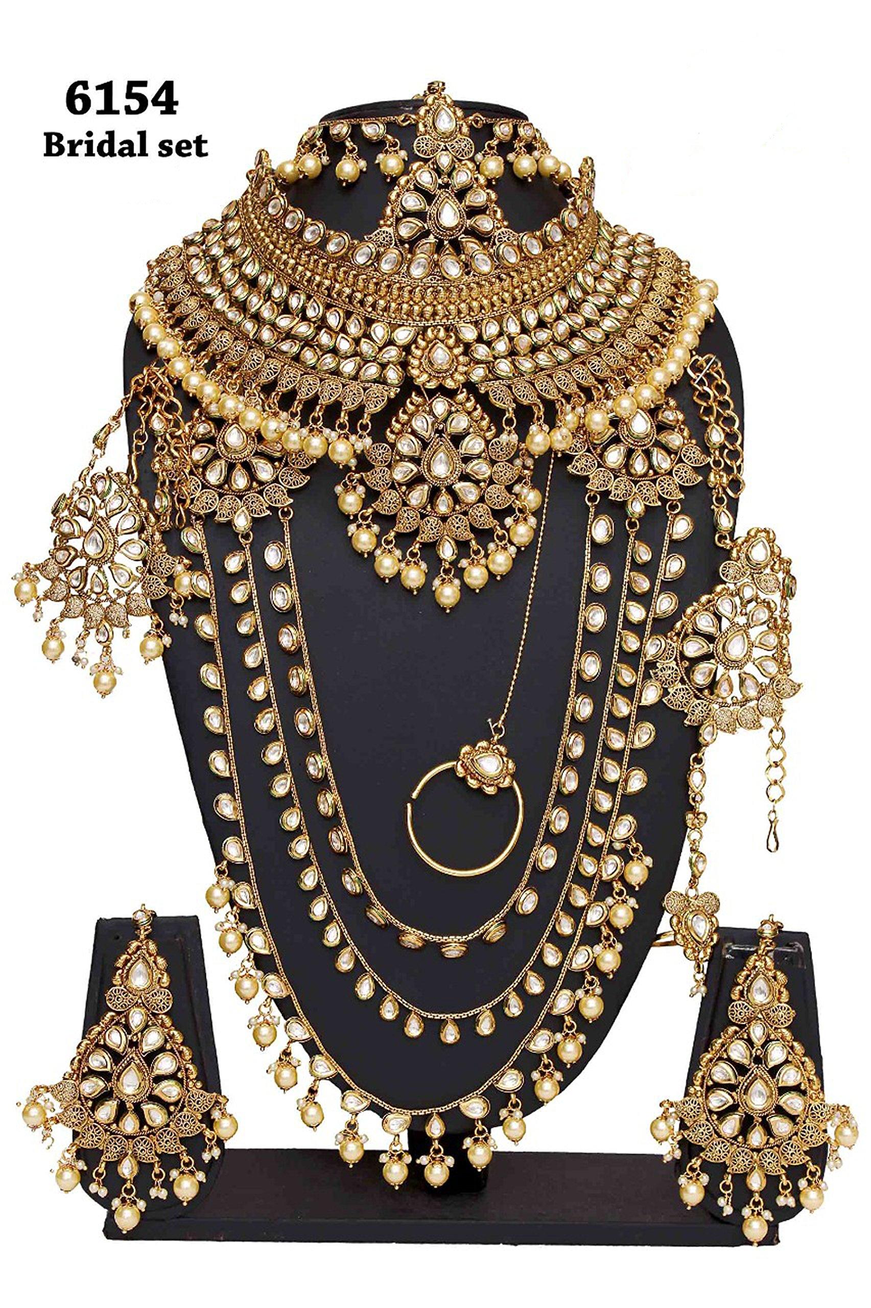 Womens Style Golden Plated Polki Kundan Stone Stone Indian Necklace Earrings Bridal Set Jewelry