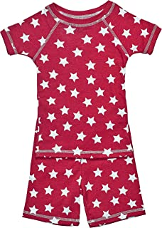 product image for Brian the Pekingese Girls 100% Organic Cotton Short Sleeve and Shorts Pajamas (18M, Red Star)