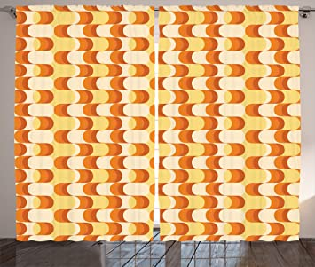 Retro Curtains By Ambesonne Wavy Pattern Half Moon Shapes Vintage Art Graphic Design In Different