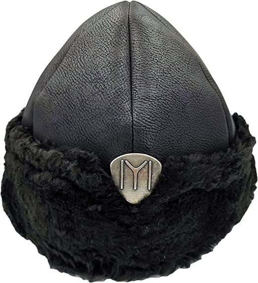 IYI Ertugrul Bey Mini Alp Kids Hat with Grey Fur Logo Decorated with Buckles /& Strings