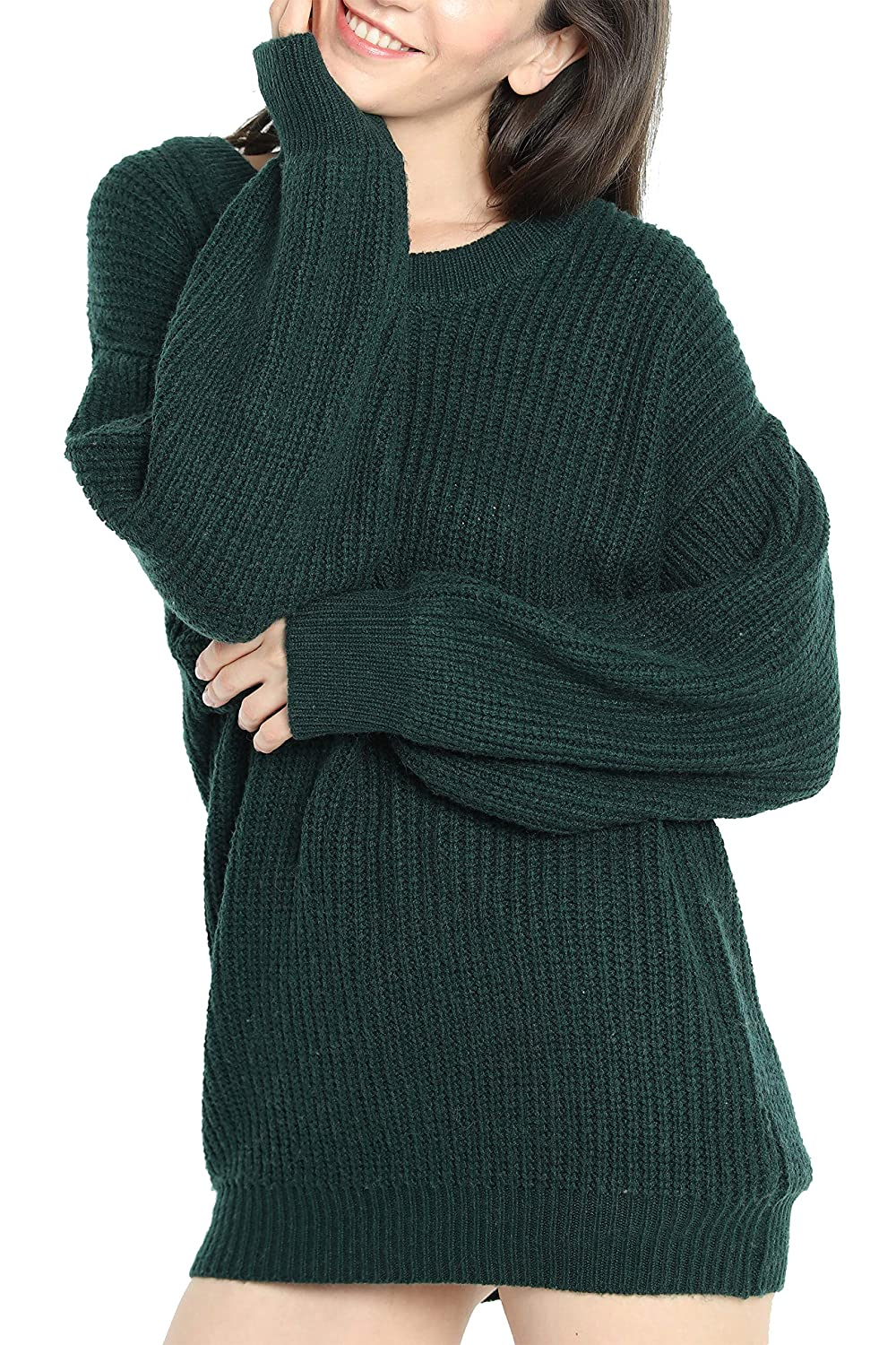 Liny Xin Womens Cashmere Oversized Loose Knitted Crew Neck Long Sleeve  Winter Warm Wool Pullover Long ... 136a6479d