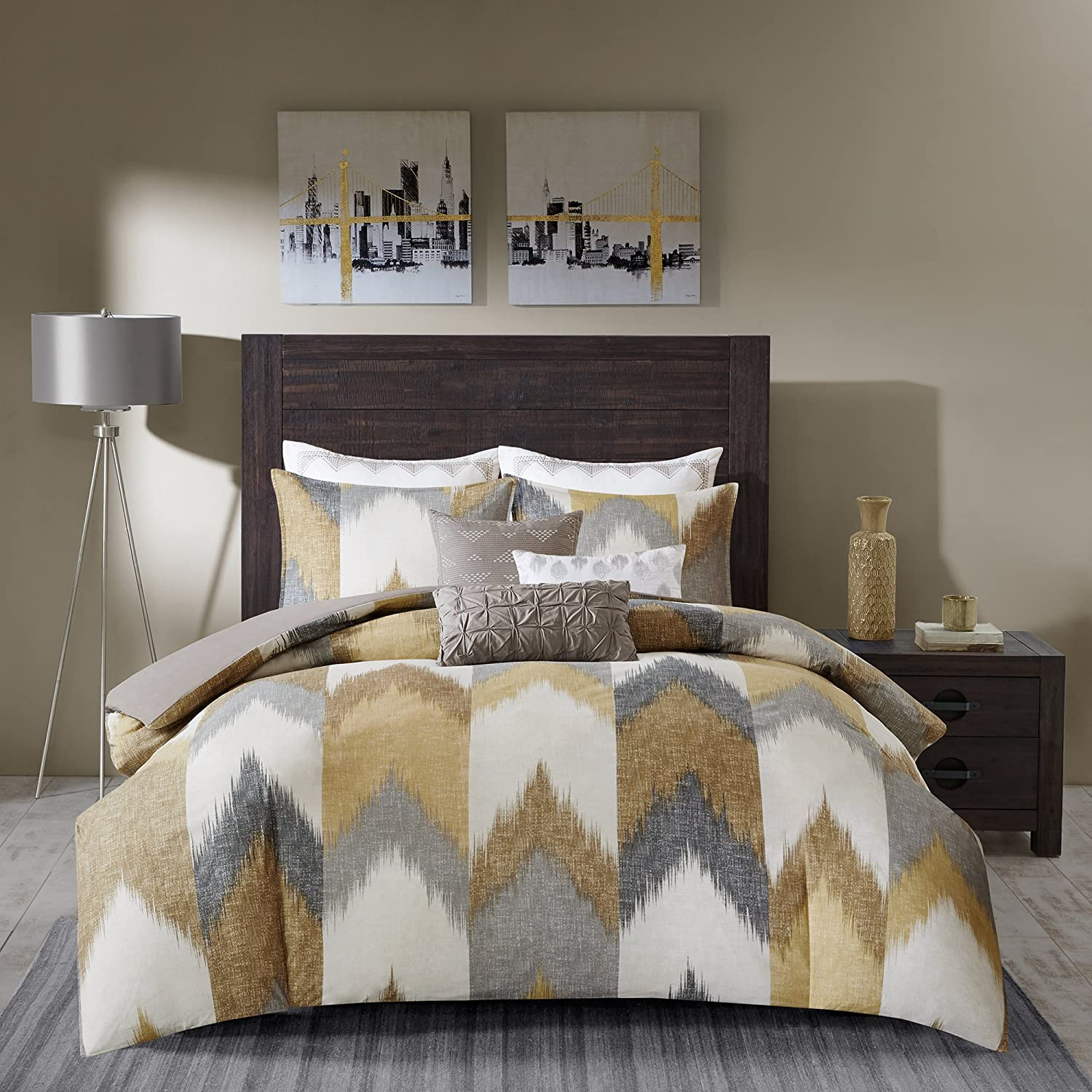 INK+IVY Alpine Full/Queen Size Bed Comforter Set - Yellow, Taupe, Grey, Ivory, Pieced Chevron – 3 Pieces Bedding Sets – 100% Cotton Bedroom