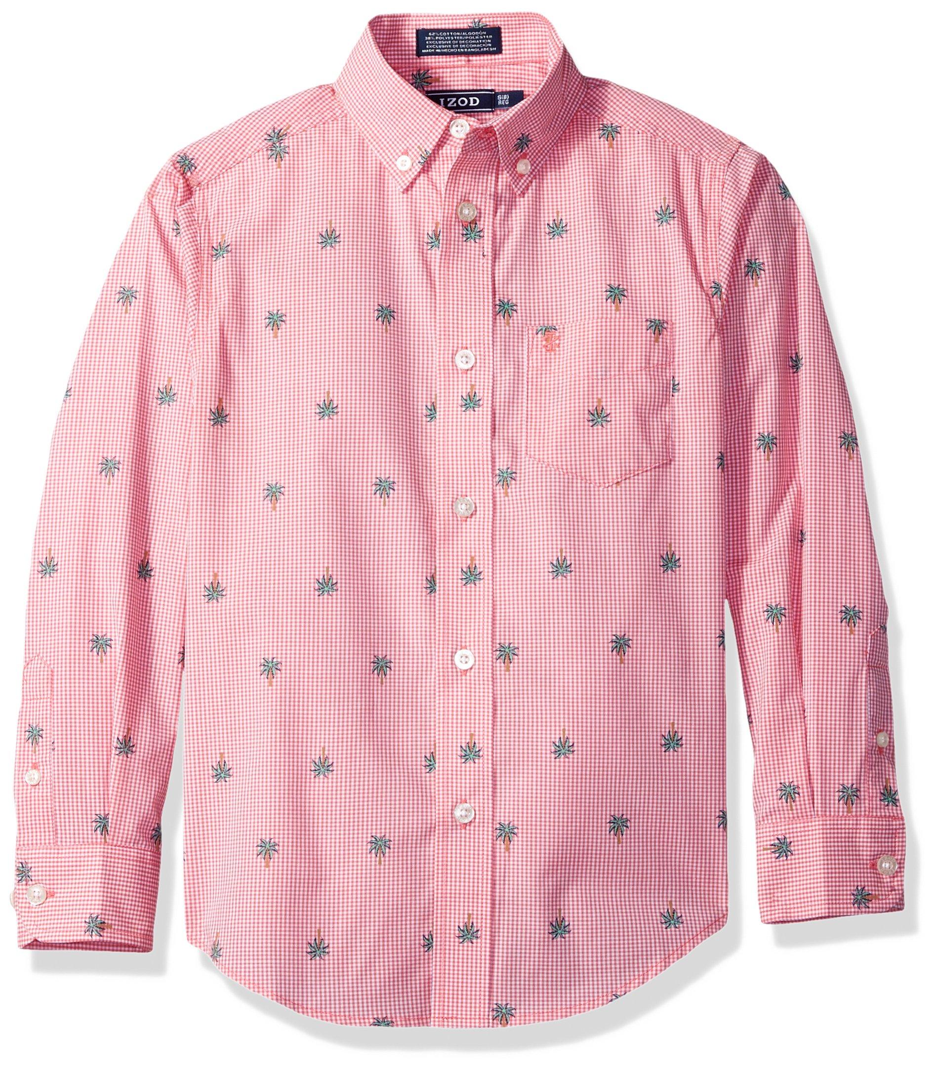 Izod boys Long Sleeve Gingham Button-Down Dress Shirt, Medium Pink, Small