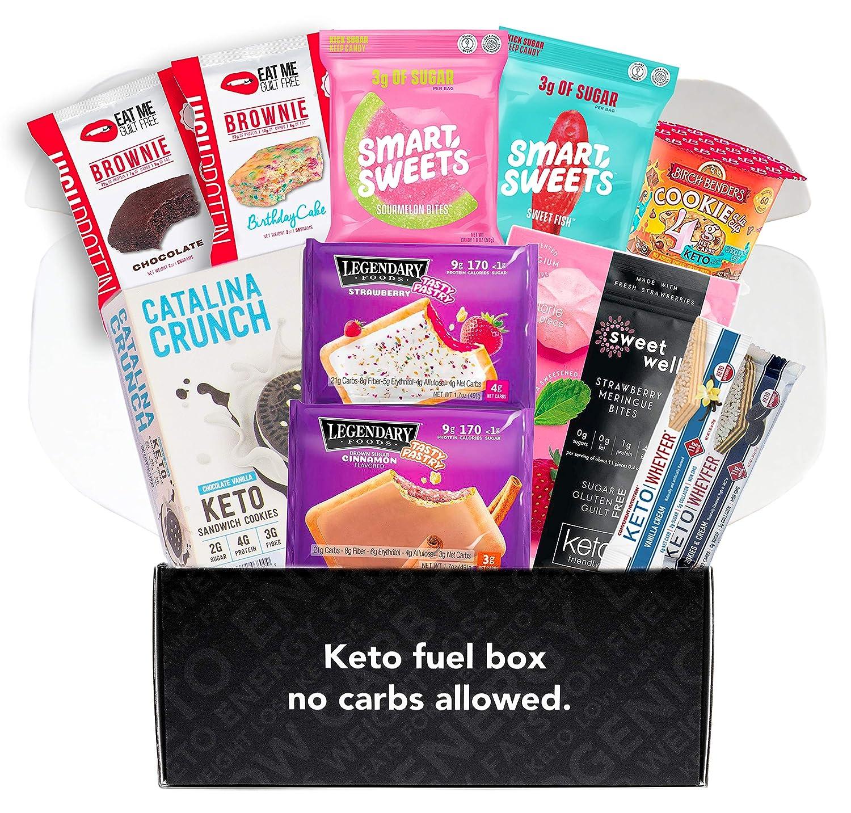Low Carb Snack Box - Keto Friendly & Low Sugar Bars, Brownies, Pastry, Gummies, Sweets - Premium Variety Gift Box
