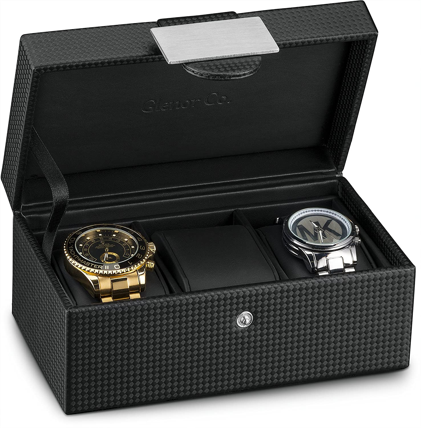 Glenor Co Travel Watch Case – 3 Slot Luxury Organizer Box, Carbon Fiber Design for Mens Jewelry Watches, Men s Storage Holder Boasts Metal Buckle Leather Pillows, Small for Traveling – Black