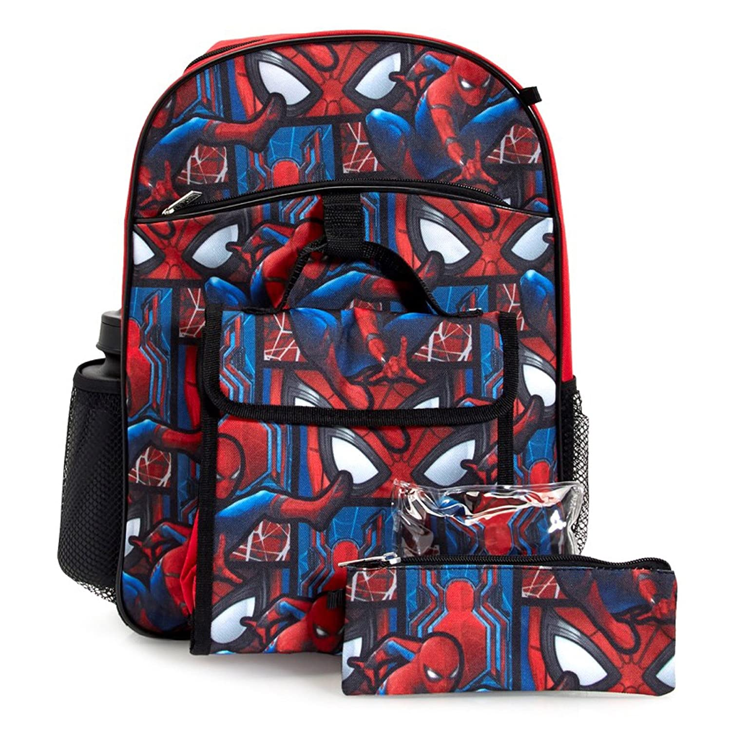 Marvel Spiderman Backpack & Lunch Bag 5-Piece Set