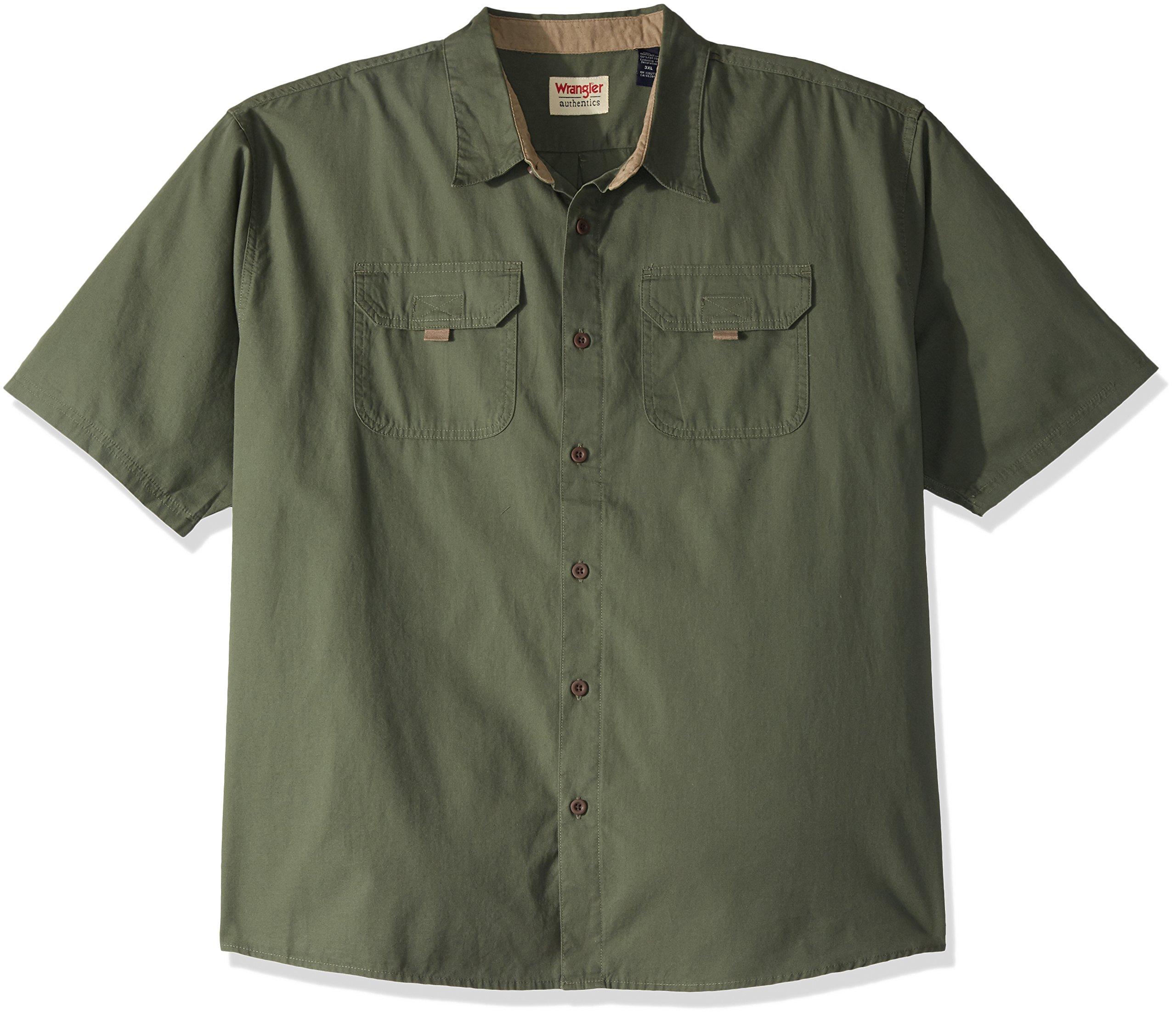 Wrangler Authentics Men's Big and Tall Authentics Short Sleeve Canvas Shirt, Beetle, 3XL