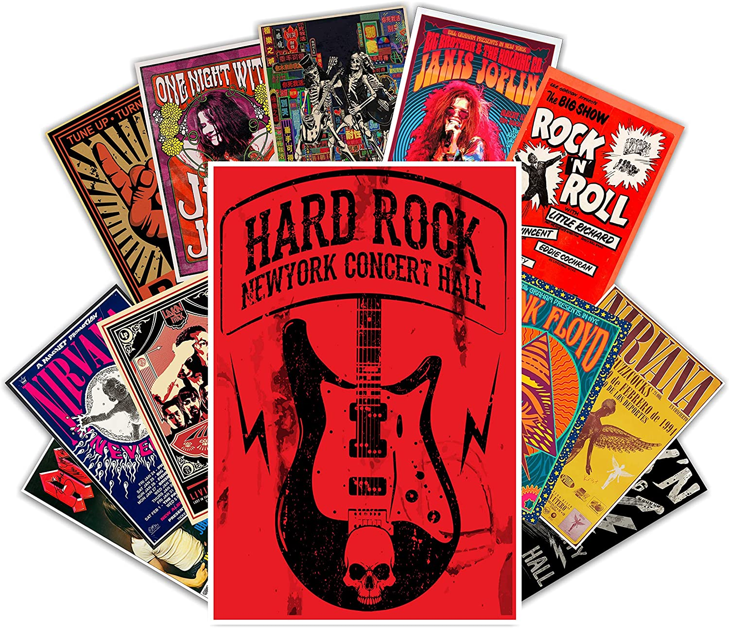 HK Studio Vintage Posters of Rock Music | Self-Adhesive Vinyl Decal Indie Posters for Room Aesthetic 90s | Old School, Retro Rock Band Posters | Classic Rock Poster Wall Collage Kit 7.8