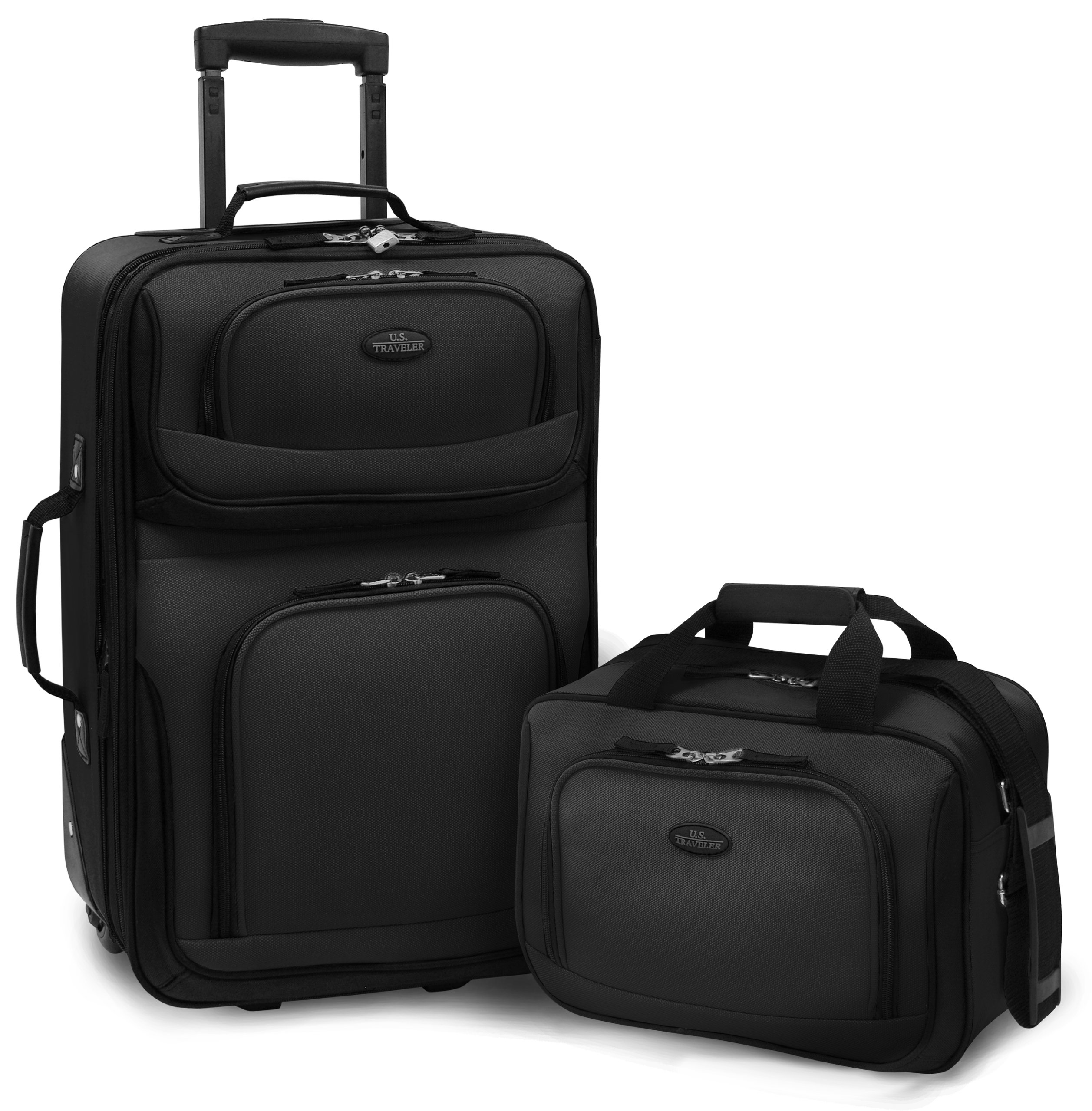 U.S. Traveler – RIO 2-Piece Expandable Carry-On Luggage Set in Black