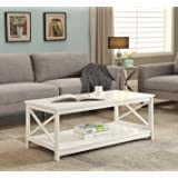 White Finish X-Design Wooden Cocktail Coffee Table Shelf