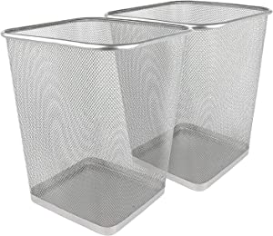 Greenco, Silver Mesh Trash Can Wastebaskets, Square, 6 Gallon, 2 Pack