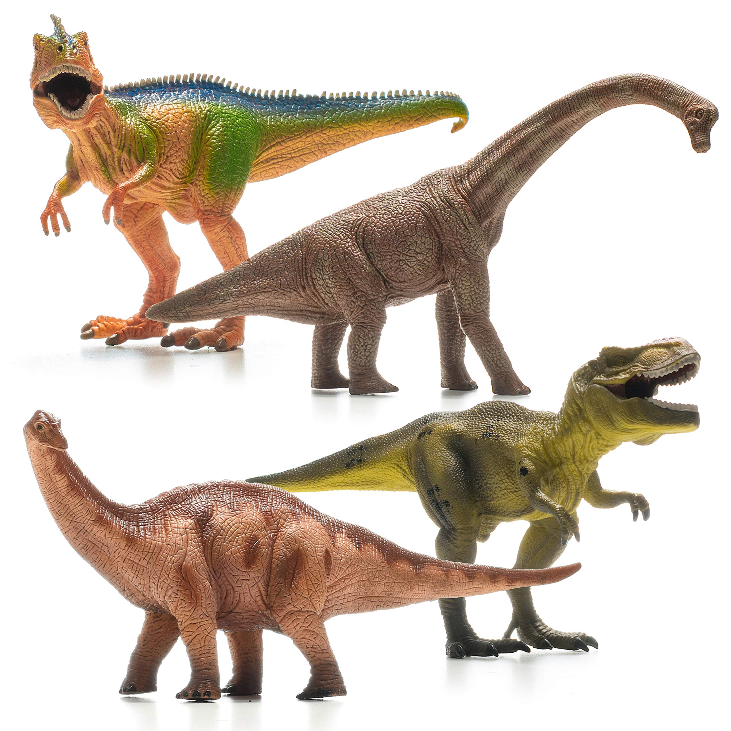 Prextex 13'' Realistic Looking Dinosaurs Pack of 4 Jumbo Plastic Assorted Dinosaur Figures by Prextex