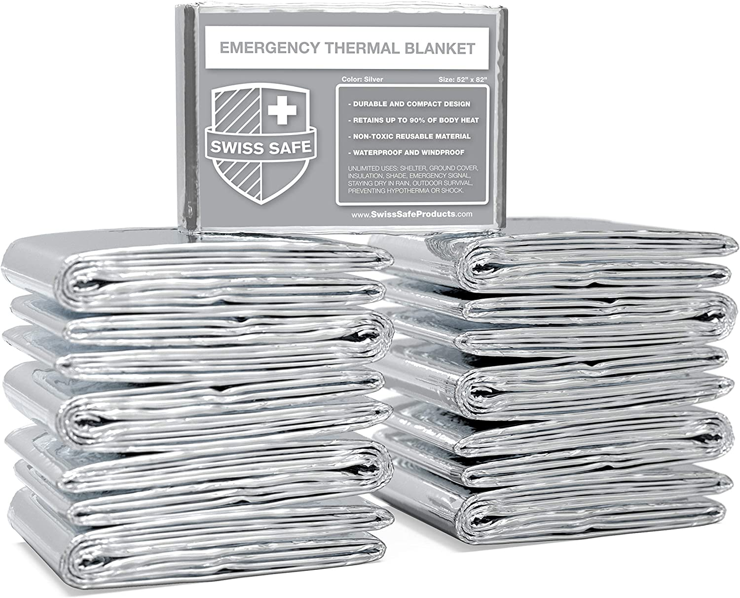 Swiss Safe Emergency Mylar Thermal Blankets (Bulk 10pk, 25pk) - Designed for NASA, Outdoors, Hiking, Survival, Marathons or First Aid (Silver Color)