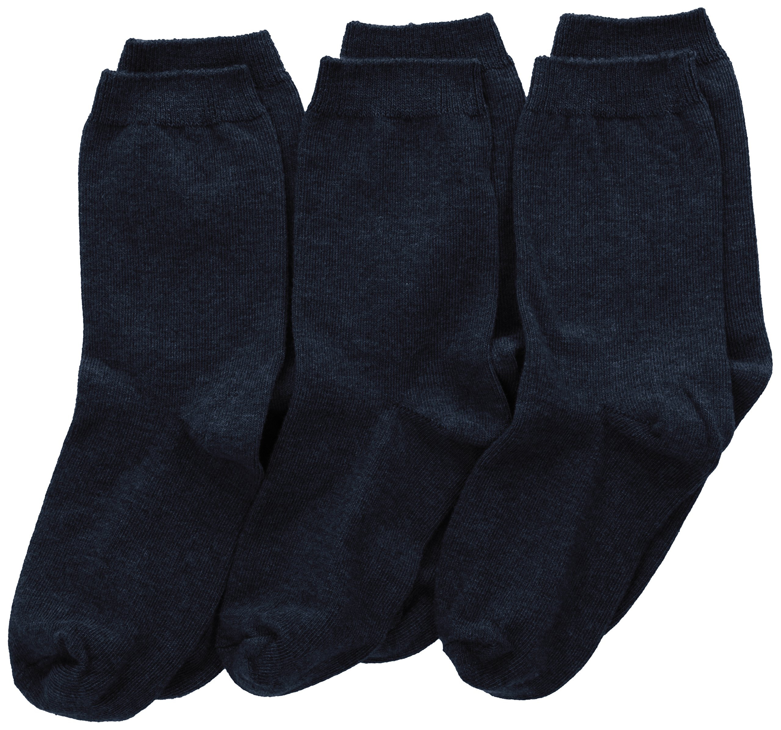 Jefferies Socks Big Boys' School Uniform Cotton Crew (Pack of 3), Navy, Small