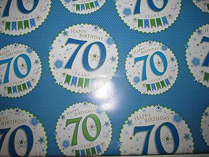 Para hombre 70 70th feliz cumpleaños papel de regalo - 2 ...