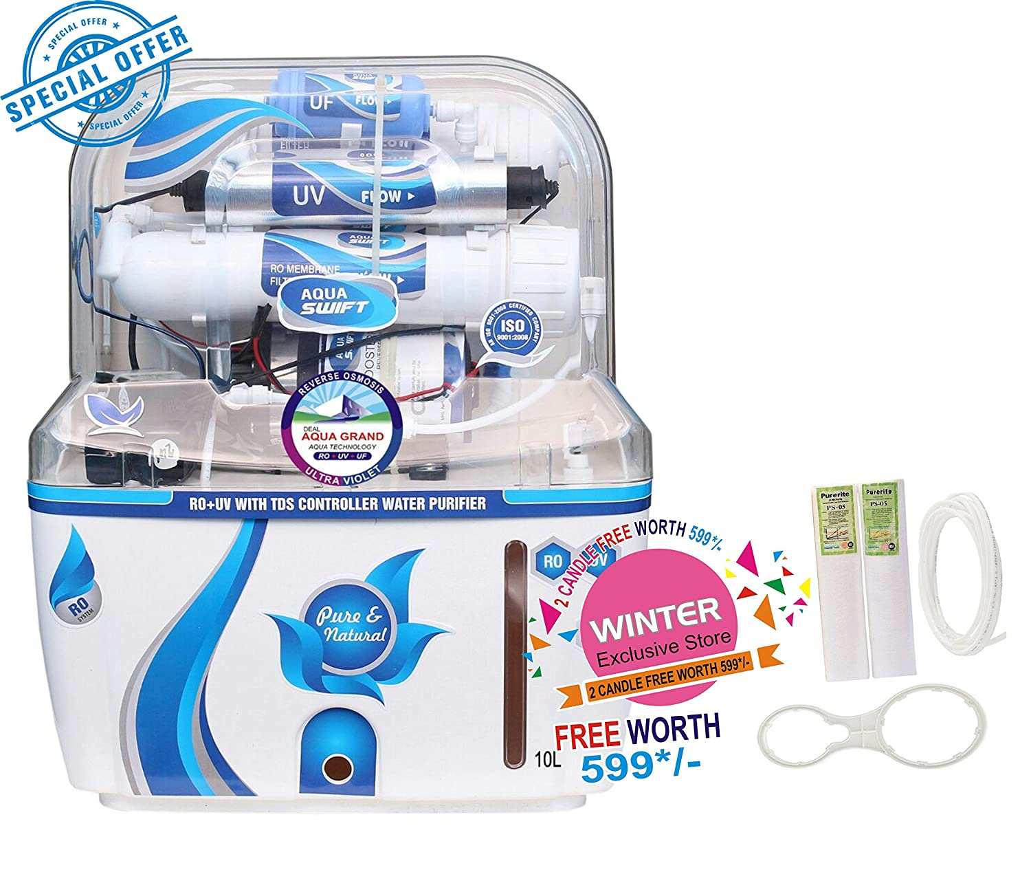 df367b6cee4 Deal Aquagrand Aqua Swift Ro+Uf+Uv+Mineral+Tds Controller 10 Ltr Rouvuf  Water Purifier 10 Stage  Amazon.in  Home   Kitchen