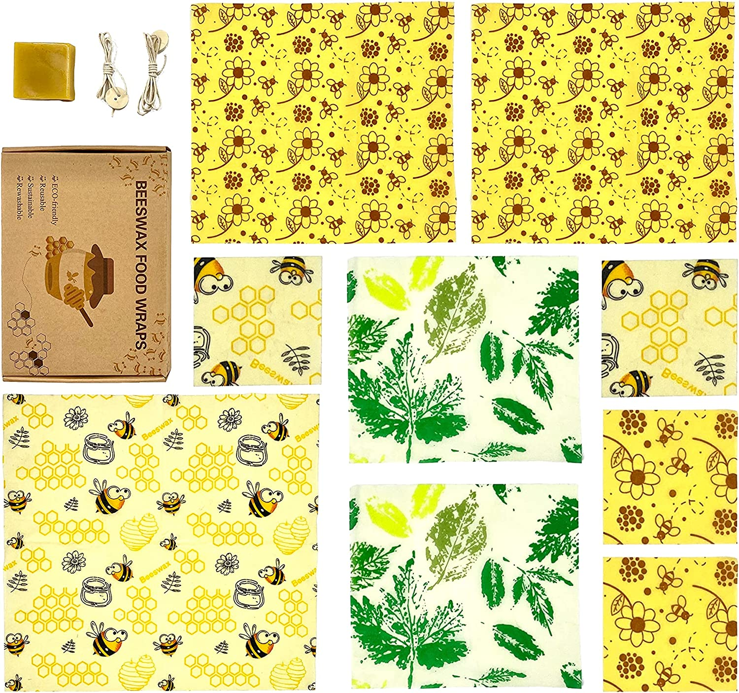 Beeswax Reusable Food Wraps,Beeswax Wrap set of 9,Zero waste,Eco Friendly Products,Sustainable Products,Reusable bags,Lock the Freshness of Food,Plastic Free for Food and Drink