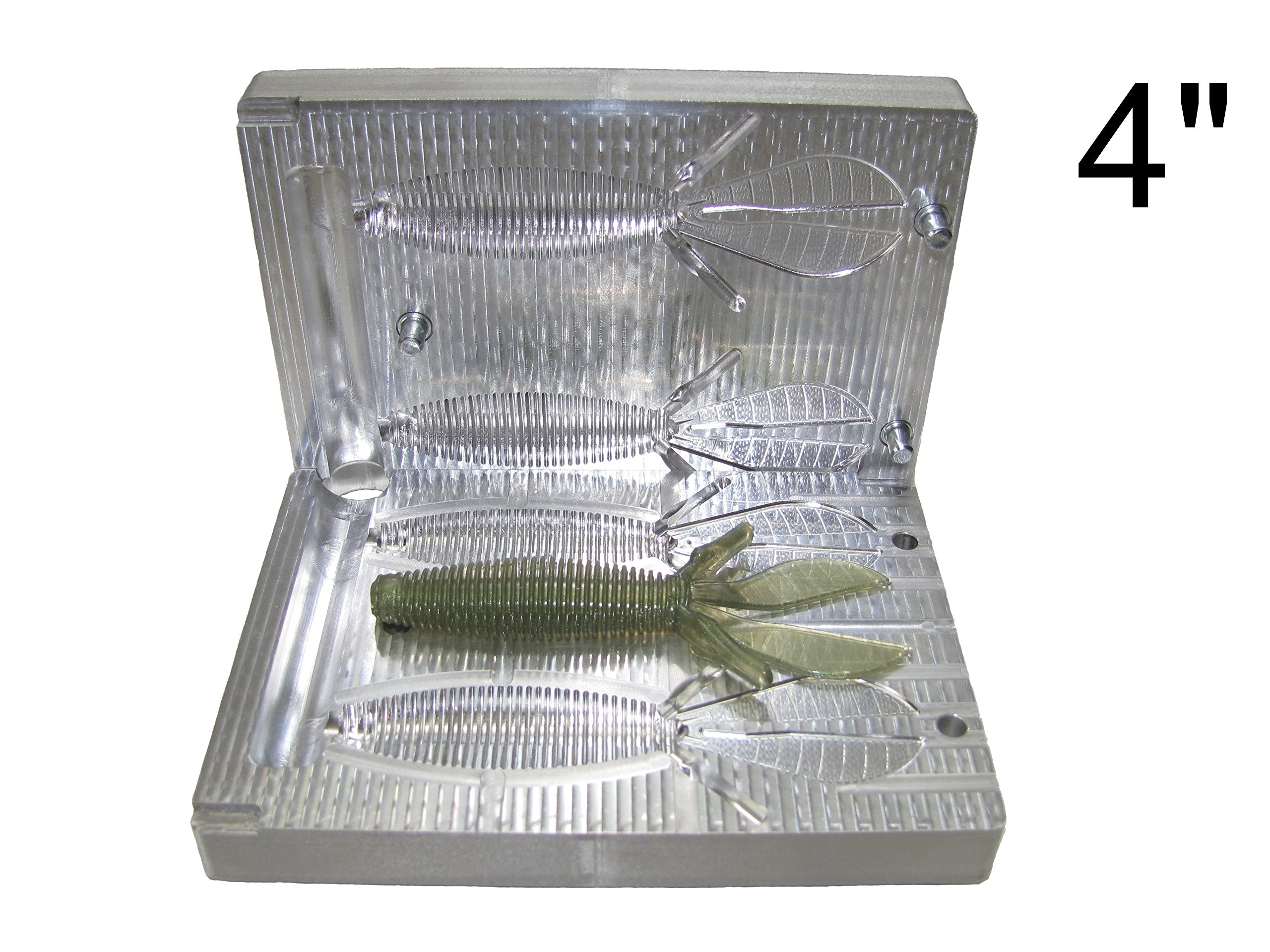 FatFish Aluminum Bait Mold Baby D Bomb Soft Plastic Lure Making Injection Mold Do-It Fishing Lures 4'' by FatFish