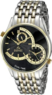 August Steiner Mens AS8141 Dual Time Zone Display Quartz Watch Pattern Etched Dial with Roman Numerals