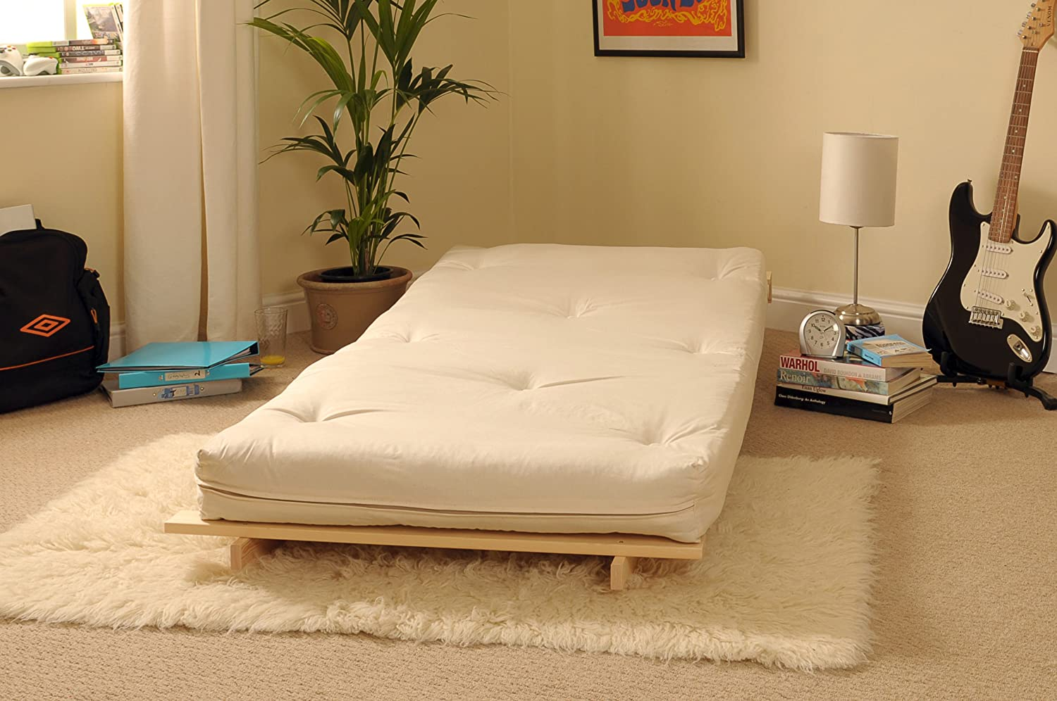 2ft6 Small Single Wooden Futon Set with Natural Cream Mattress:  Amazon.co.uk: Kitchen & Home