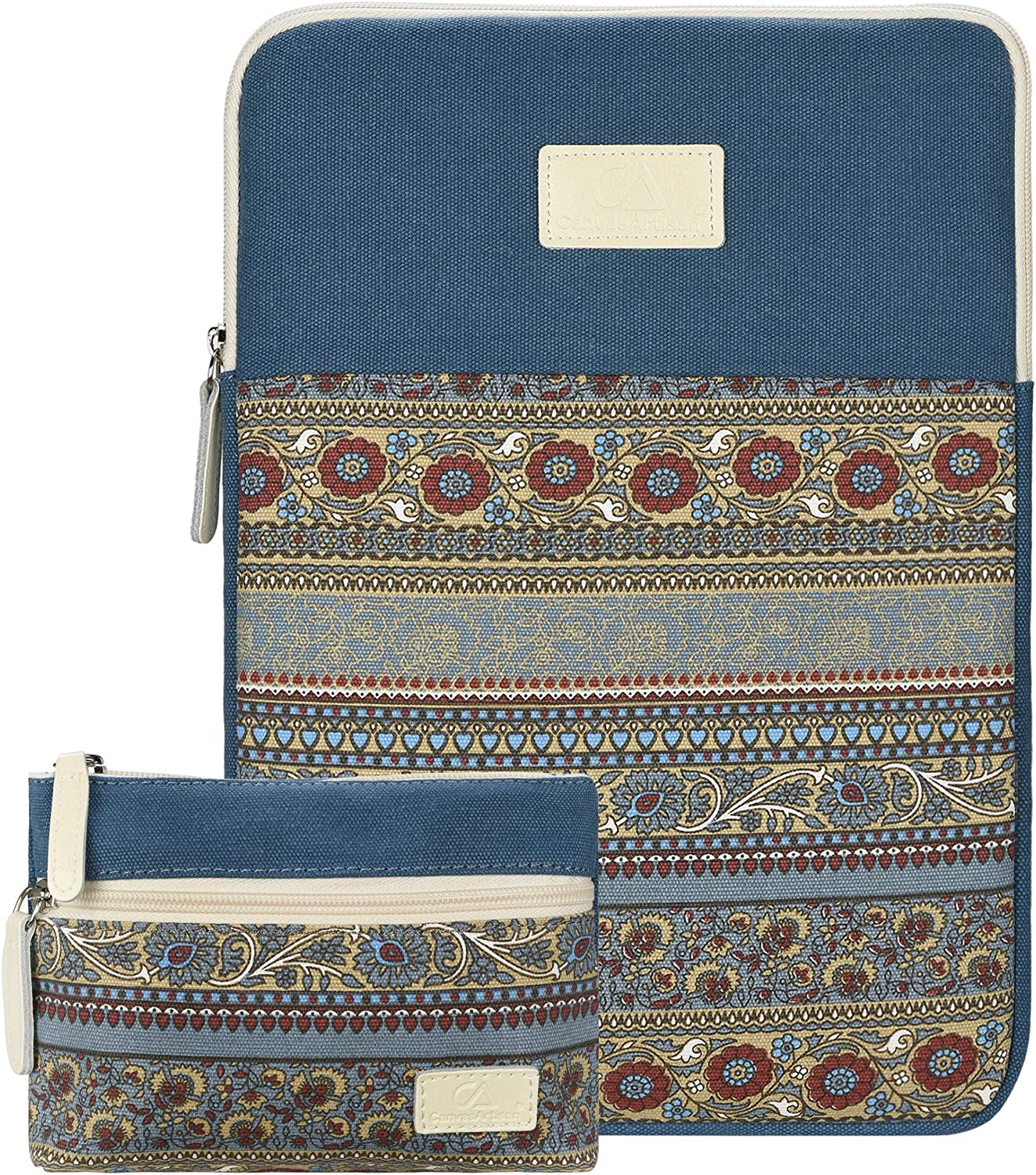 Case Star 13-13.3 inch Laptop Sleeve Cover Bohemian Canvas Bag Compatible 2018 New MacBook Air 13 A1932 Retina Display/MacBook Pro 13 A1706 A1708 MacBook Air A1369 A1466 with Small Case(Lake Blue)