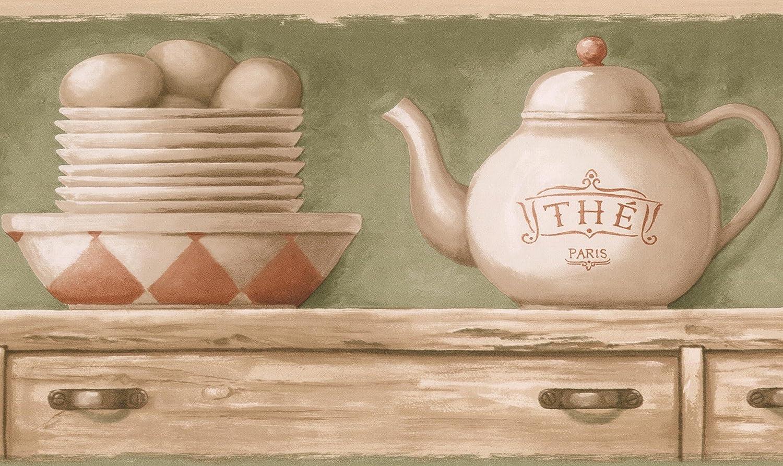 Beige Kitchen Chest Tea Cups Plates Kettle Olive Green Wallpaper Border Retro Design Roll 15 X 7 Amazon Com