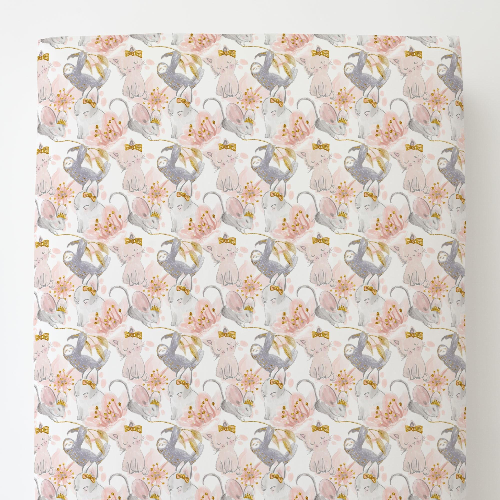 Carousel Designs Pink and Gray Sloth Toddler Bed Sheet Fitted