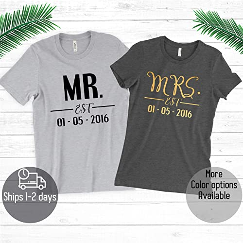 Amazon Custom Couple Mr Mrs With Est Date T Shirt