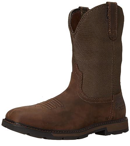Ariat Men's Groundbreaker Wide Square H2O Steel Toe Work Boot, Palm  Brown/Ballistic Brown