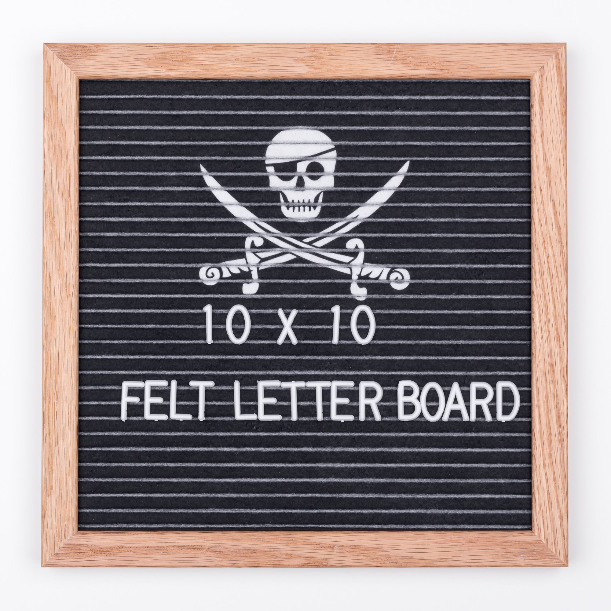 Felt Letter Board,10x10 Inch,Oak Wood Frame,Black Felt with Pirate Skull Image Background,Changeable Message Sign Board Includes Letters, Storage Bag,Scissors,Wall Hanging Hook and Metal Stand