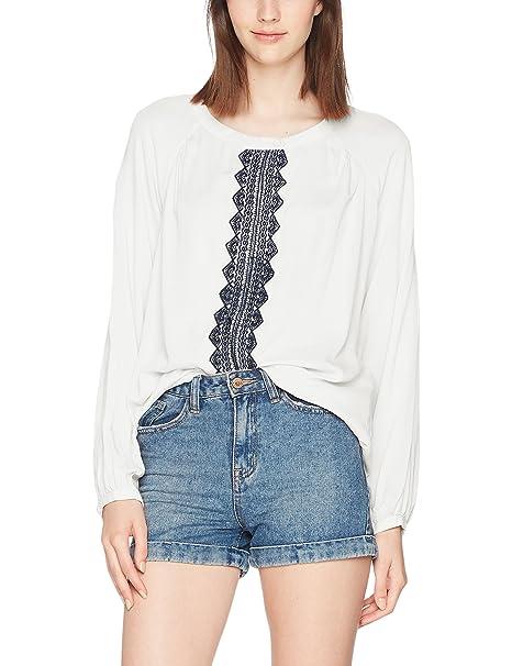 Vero Moda Vmjas L/s Midi Top Dnm, Blusa para Mujer, Blanco (