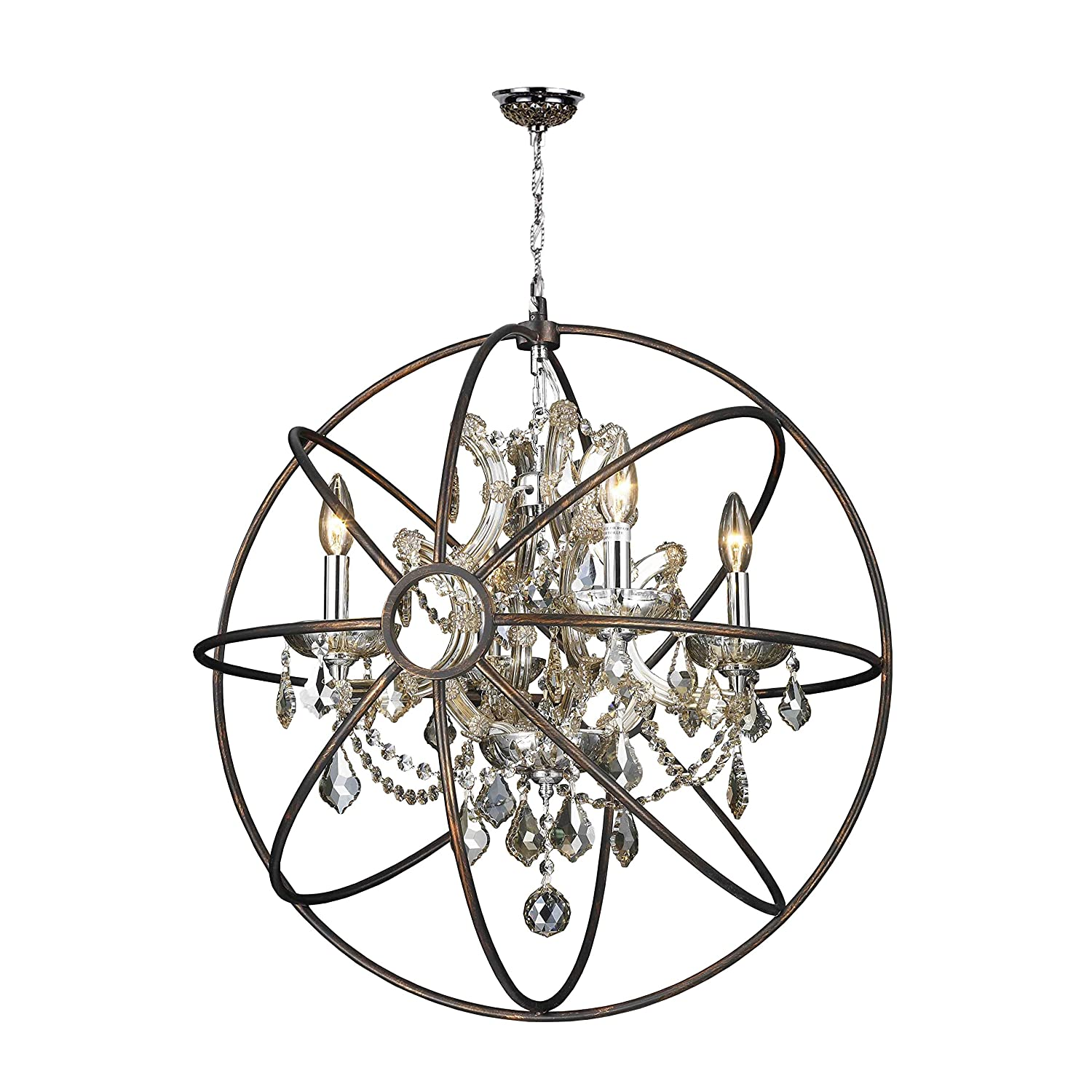 Worldwide lighting armillary collection 4 light chrome finish and worldwide lighting armillary collection 4 light chrome finish and golden teak crystal with flemish brass cage finish foucaults orb chandelier 24 d large arubaitofo Image collections