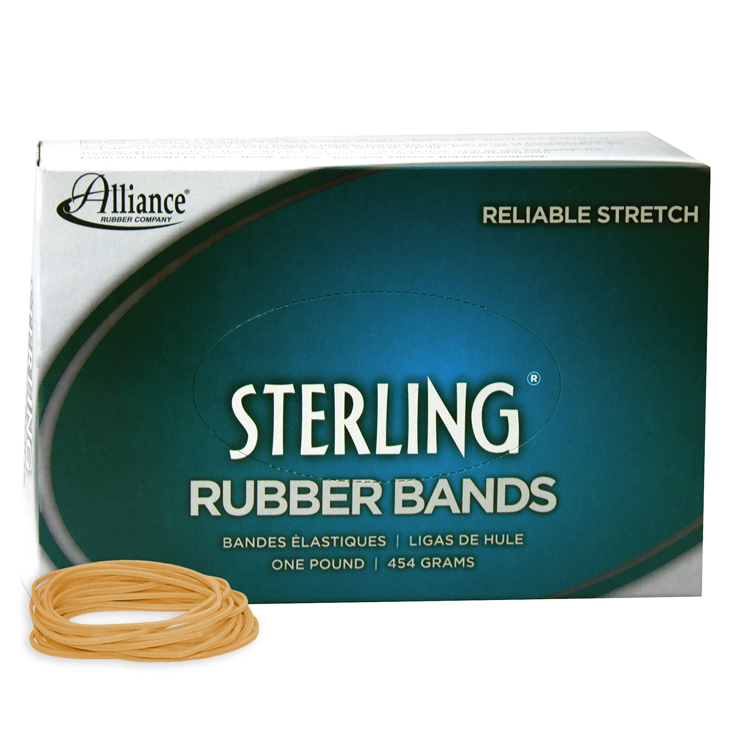 Alliance Rubber 24185 Sterling Rubber Bands Size #18, 1 lb Box Contains Approx. 1900 Bands (3'' x 1/16'', Natural Crepe)