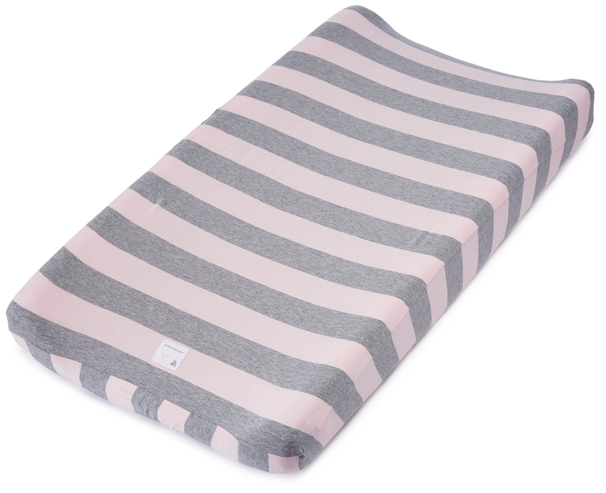 Burt's Bees Baby - Changing Pad Cover, 100% Organic Cotton Changing Pad Liner for Standard 16'' x 32'' Baby Changing Mats (Blossom Bold Stripes)
