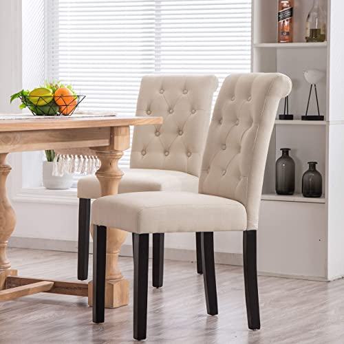YEEFY Fabric Habit Solid Wood Tufted Parsons Dining Chair Set of 2 Beige