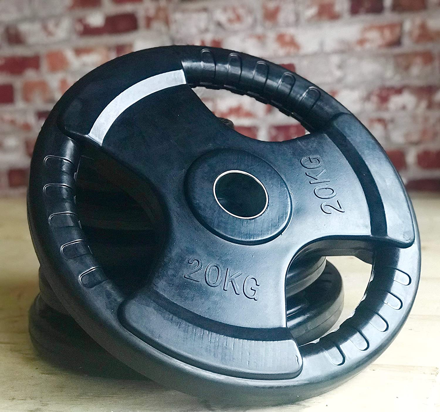 """2 Rubber 2.5KG Iron 2/"""" Hole Plates 2 x 1.25KG Olympic Tri-Grip Weight Discs"""